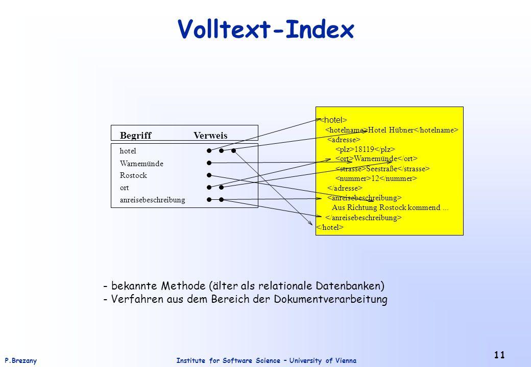 Volltext-Index bekannte Methode (älter als relationale Datenbanken)