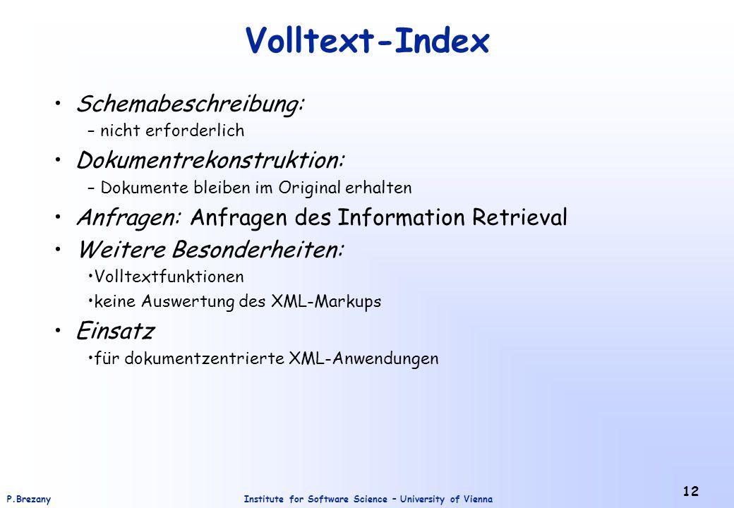 Volltext-Index Schemabeschreibung: Dokumentrekonstruktion: