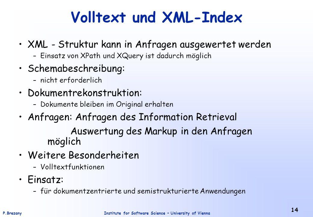 Volltext und XML-Index