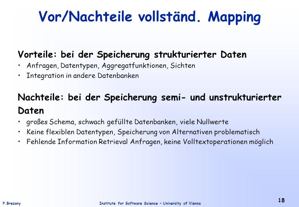 Vor/Nachteile vollständ. Mapping