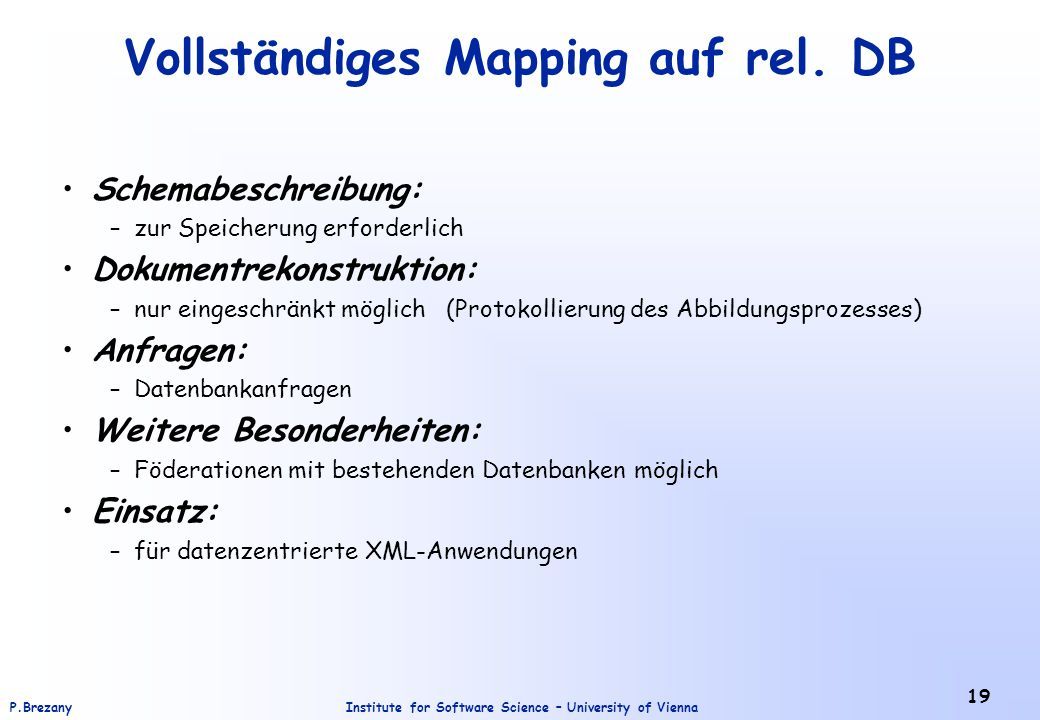 Vollständiges Mapping auf rel. DB