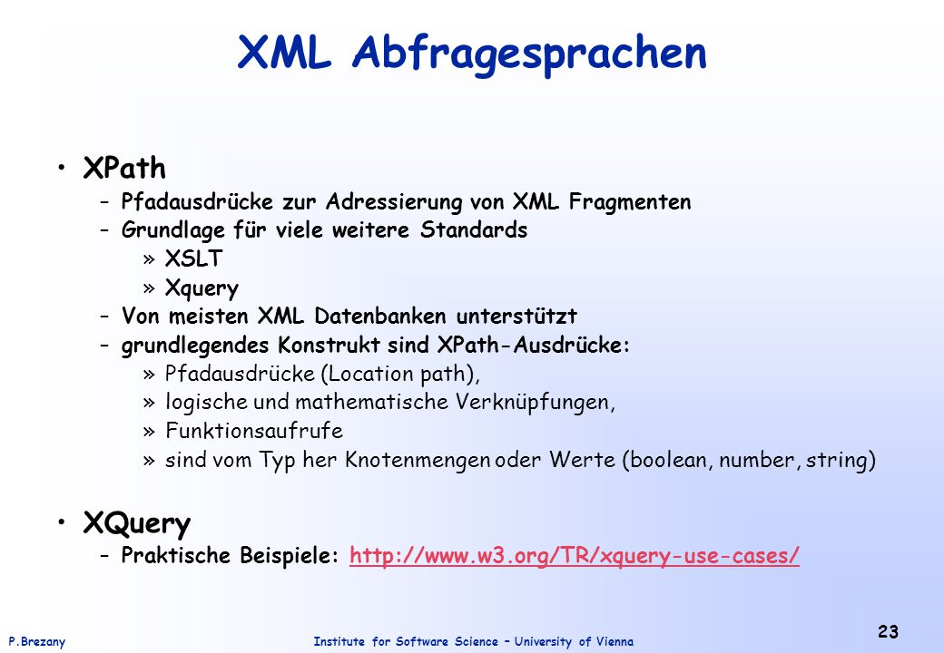 XML Abfragesprachen XPath XQuery