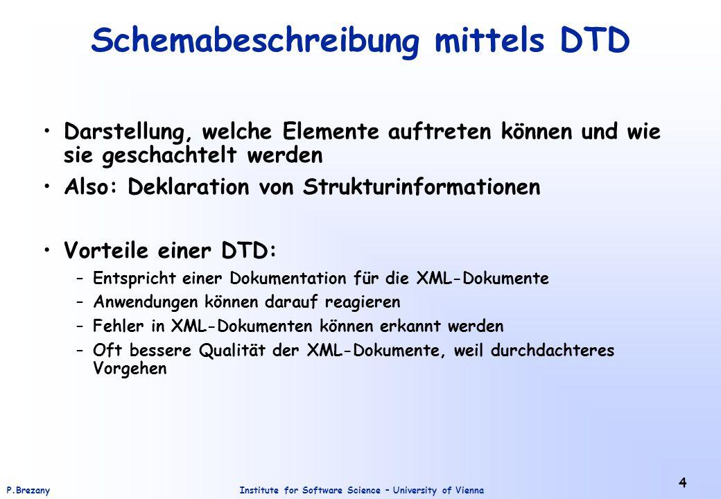 Schemabeschreibung mittels DTD