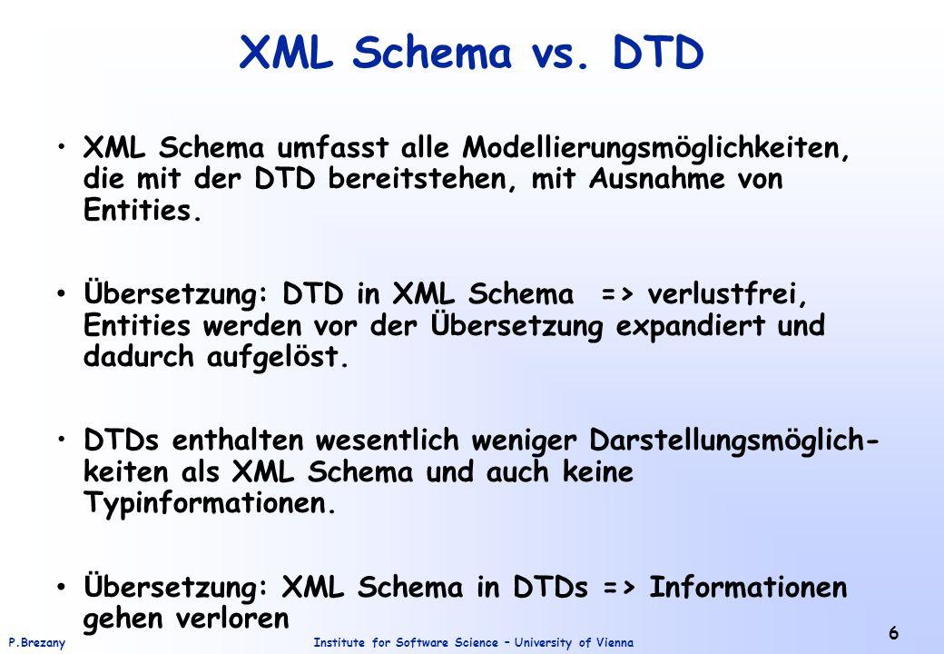 XML Schema vs. DTD XML Schema umfasst alle Modellierungsmöglichkeiten, die mit der DTD bereitstehen, mit Ausnahme von Entities.