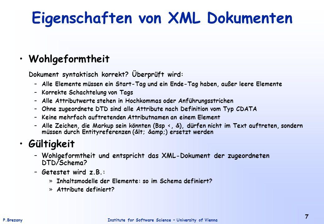 Eigenschaften von XML Dokumenten