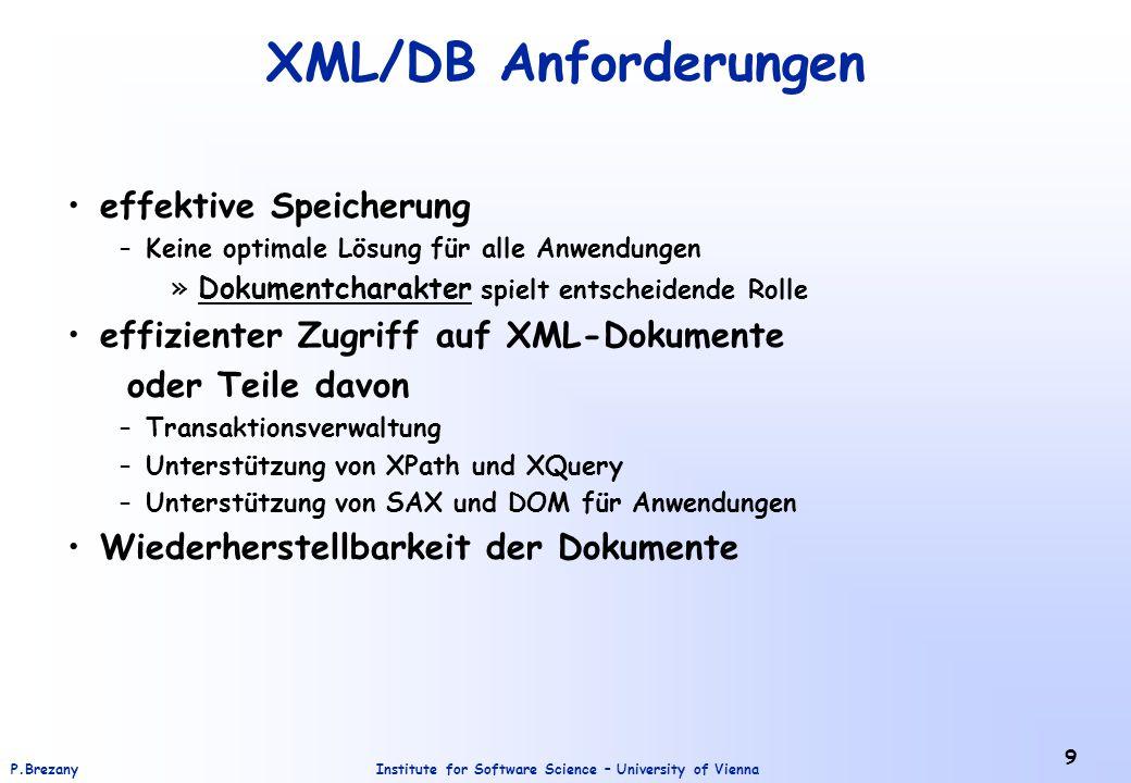 XML/DB Anforderungen effektive Speicherung