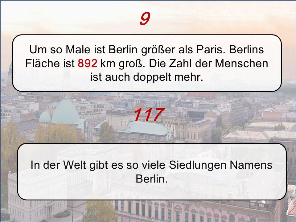 In der Welt gibt es so viele Siedlungen Namens Berlin.