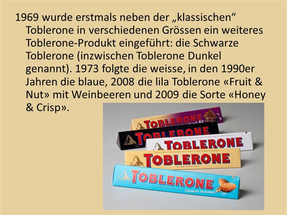 """1969 wurde erstmals neben der """"klassischen Toblerone in verschiedenen Grössen ein weiteres Toblerone-Produkt eingeführt: die Schwarze Toblerone (inzwischen Toblerone Dunkel genannt)."""