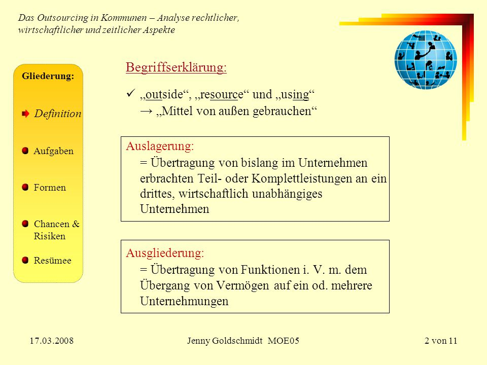 "Begriffserklärung: ""outside , ""resource und ""using"