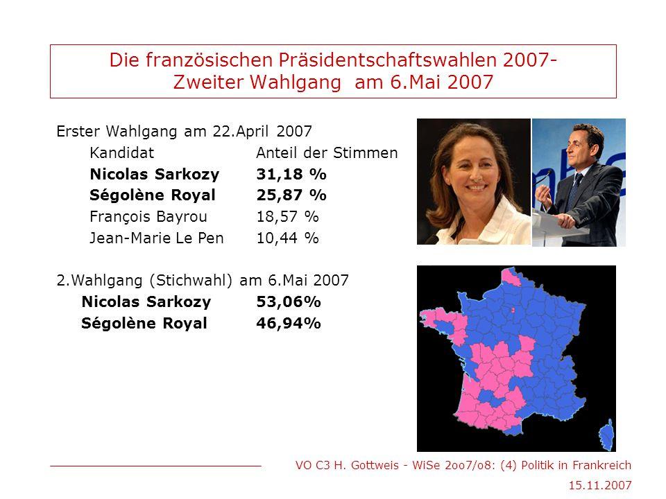 Die französischen Präsidentschaftswahlen 2007- Zweiter Wahlgang am 6
