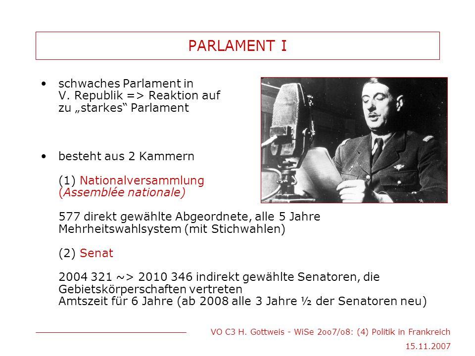 "PARLAMENT I schwaches Parlament in V. Republik => Reaktion auf zu ""starkes Parlament."