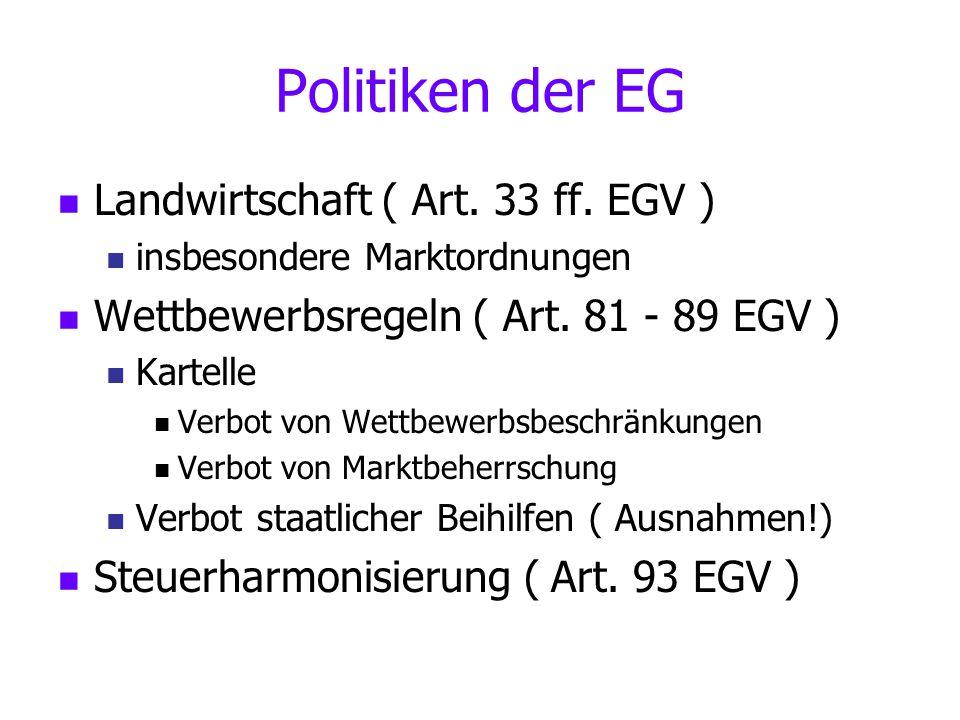 Politiken der EG Landwirtschaft ( Art. 33 ff. EGV )