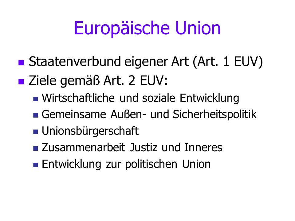 Europäische Union Staatenverbund eigener Art (Art. 1 EUV)