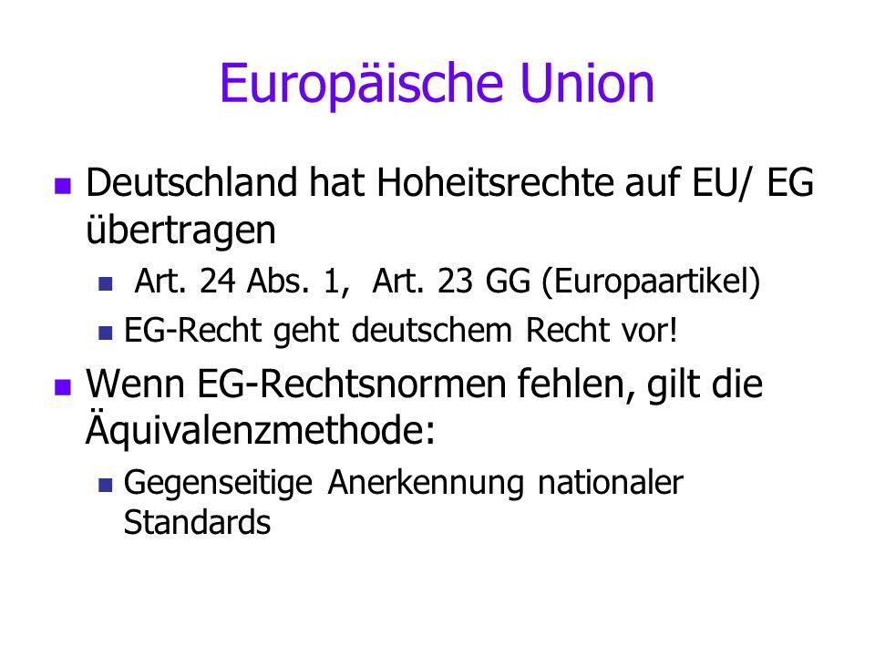 Europäische Union Deutschland hat Hoheitsrechte auf EU/ EG übertragen