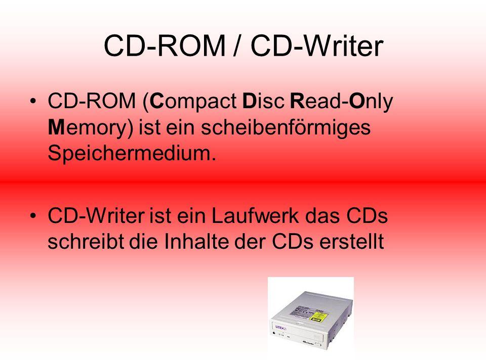 CD-ROM / CD-Writer CD-ROM (Compact Disc Read-Only Memory) ist ein scheibenförmiges Speichermedium.