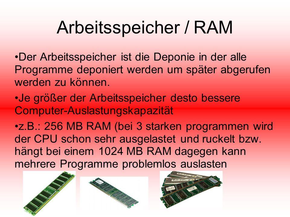 Arbeitsspeicher / RAM Der Arbeitsspeicher ist die Deponie in der alle Programme deponiert werden um später abgerufen werden zu können.