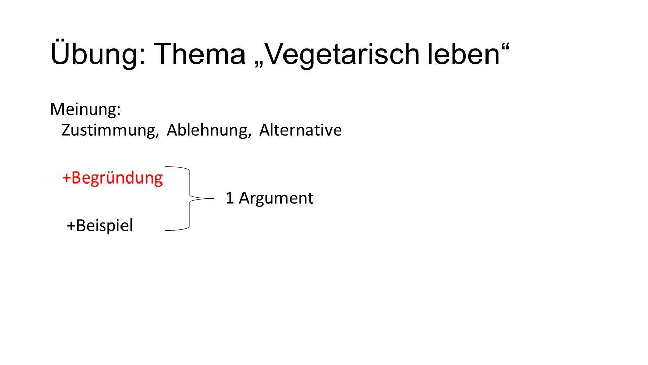 """Übung: Thema """"Vegetarisch leben"""