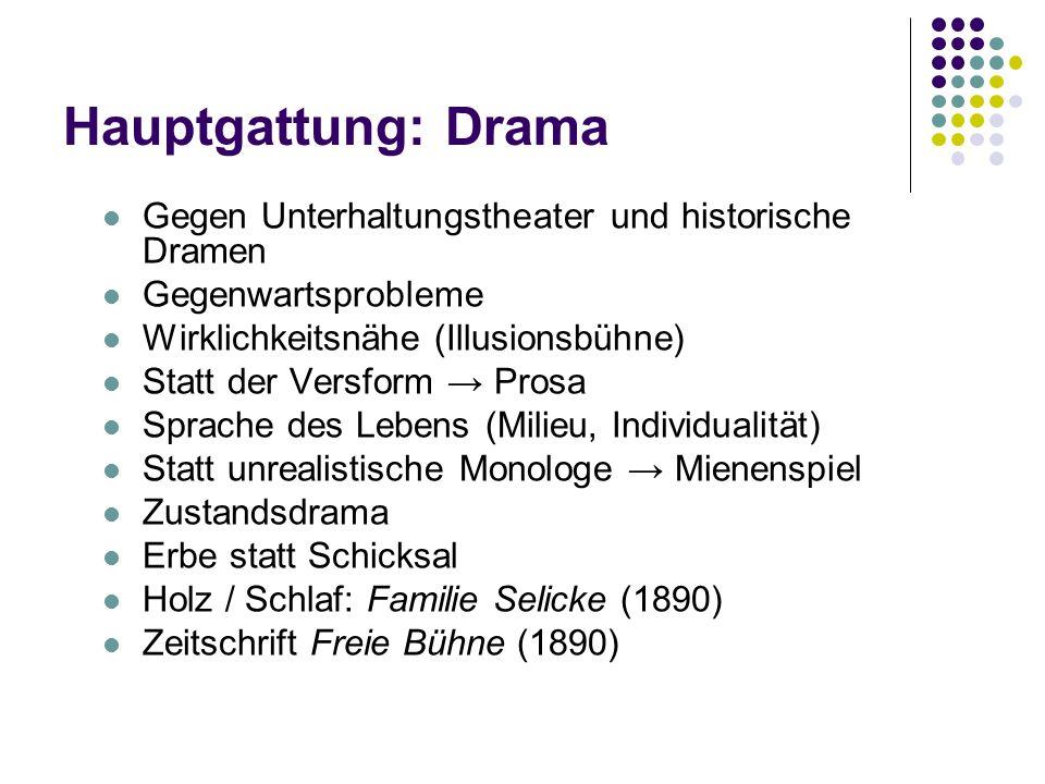 Hauptgattung: Drama Gegen Unterhaltungstheater und historische Dramen