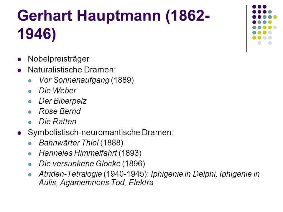 Gerhart Hauptmann (1862-1946) Nobelpreisträger Naturalistische Dramen: