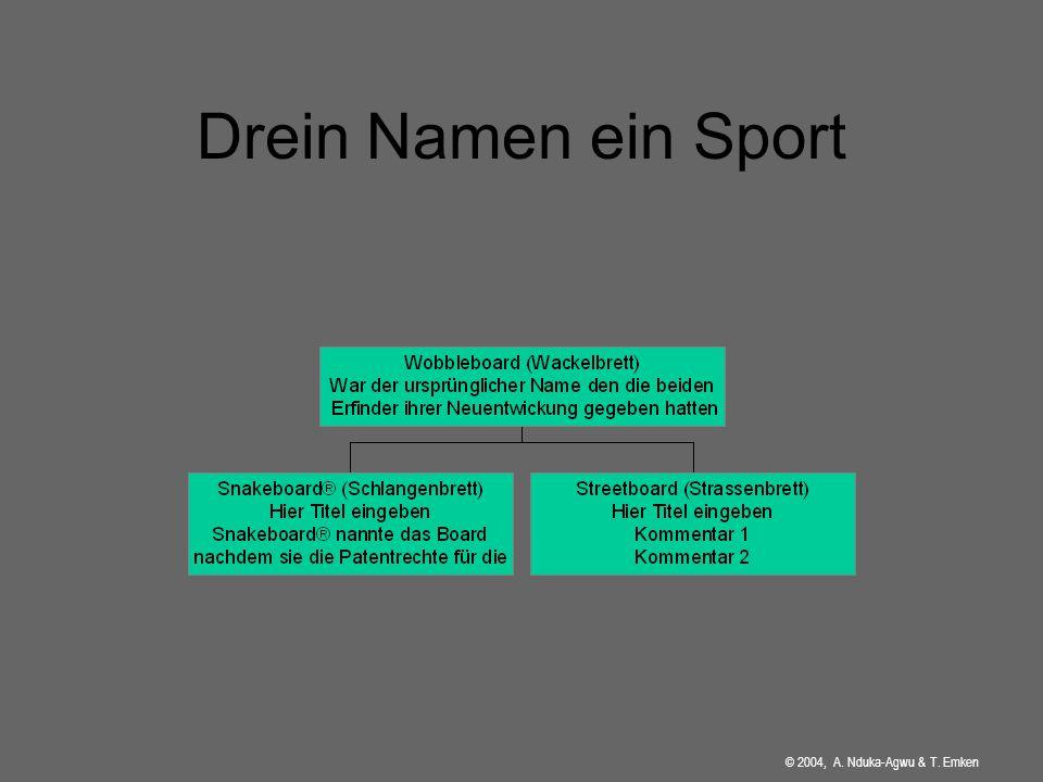 Drein Namen ein Sport © 2004, A. Nduka-Agwu & T. Emken