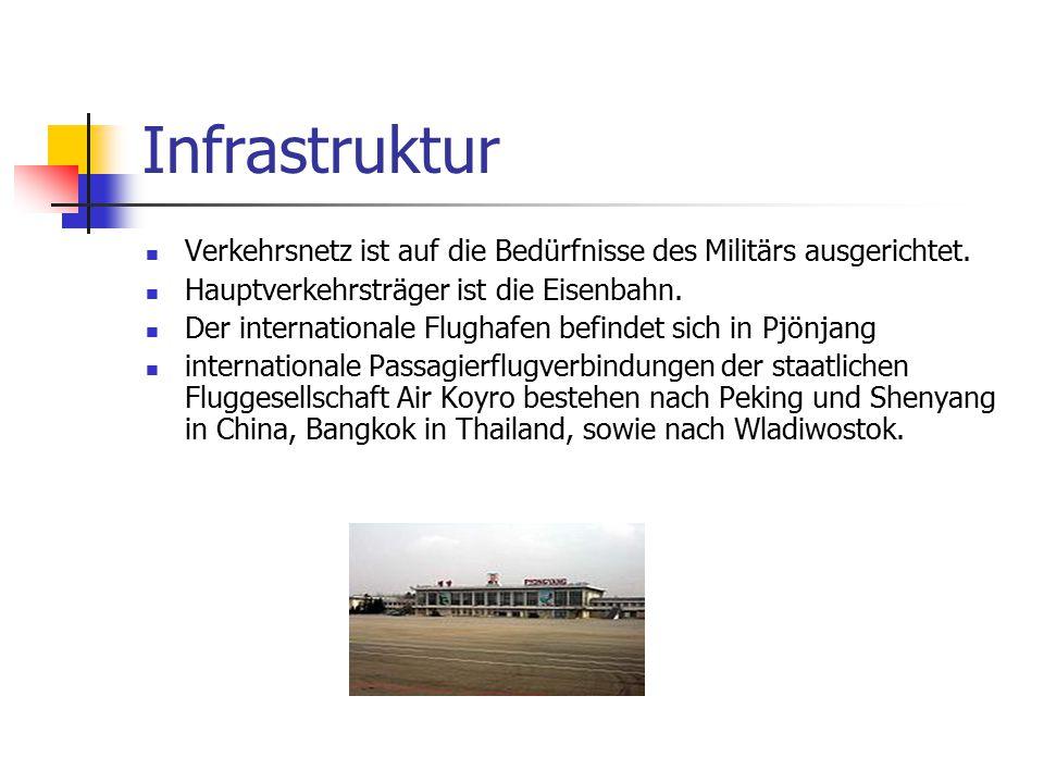 Infrastruktur Verkehrsnetz ist auf die Bedürfnisse des Militärs ausgerichtet. Hauptverkehrsträger ist die Eisenbahn.