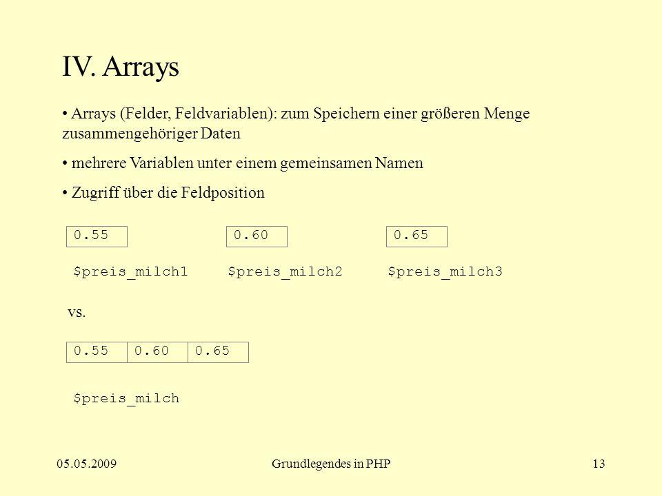 IV. Arrays Arrays (Felder, Feldvariablen): zum Speichern einer größeren Menge zusammengehöriger Daten.