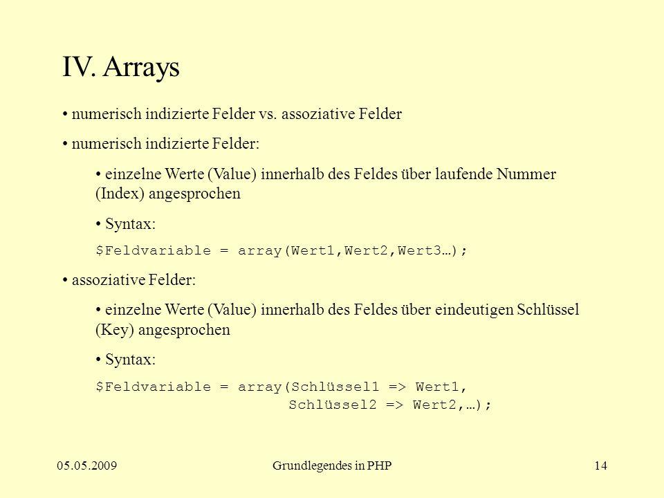 IV. Arrays numerisch indizierte Felder vs. assoziative Felder