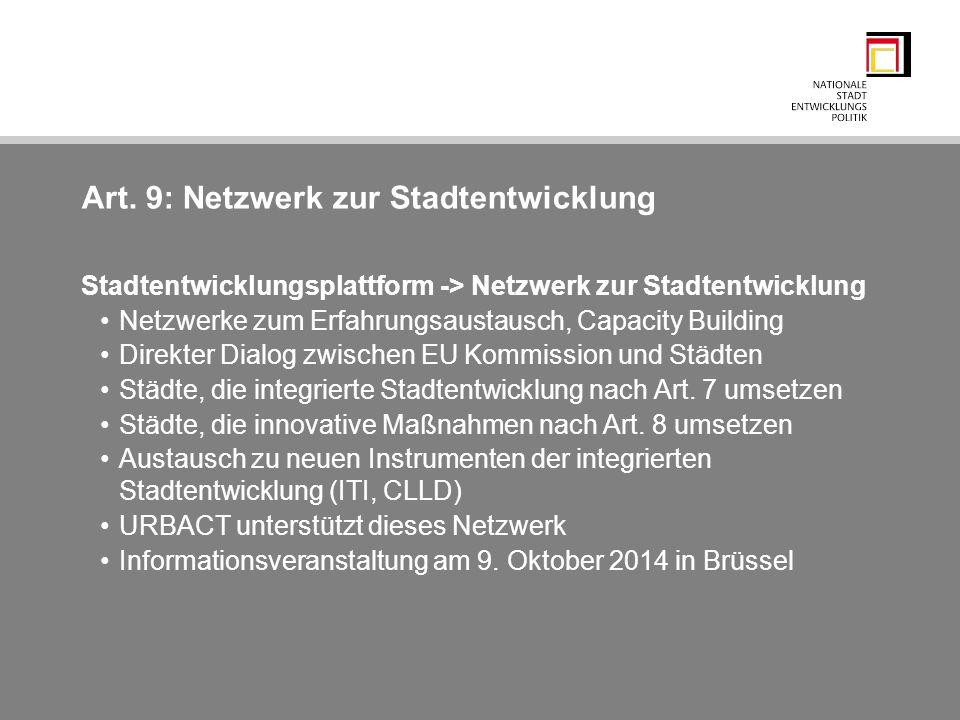 Art. 9: Netzwerk zur Stadtentwicklung