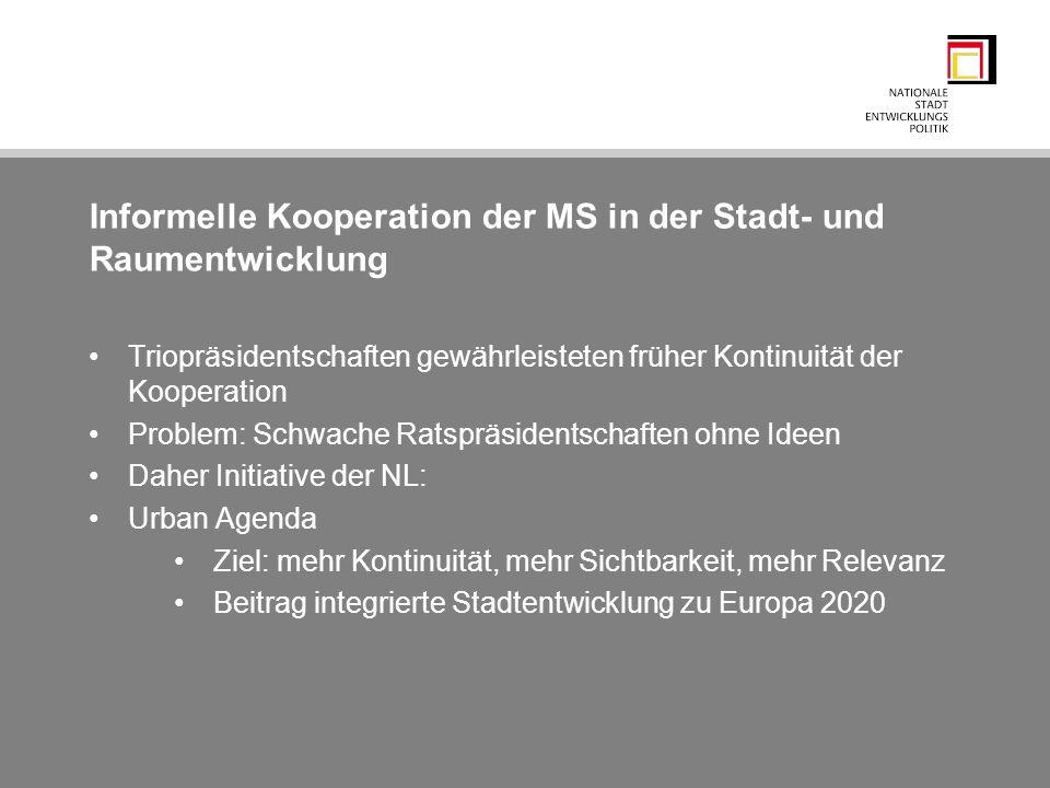 Informelle Kooperation der MS in der Stadt- und Raumentwicklung