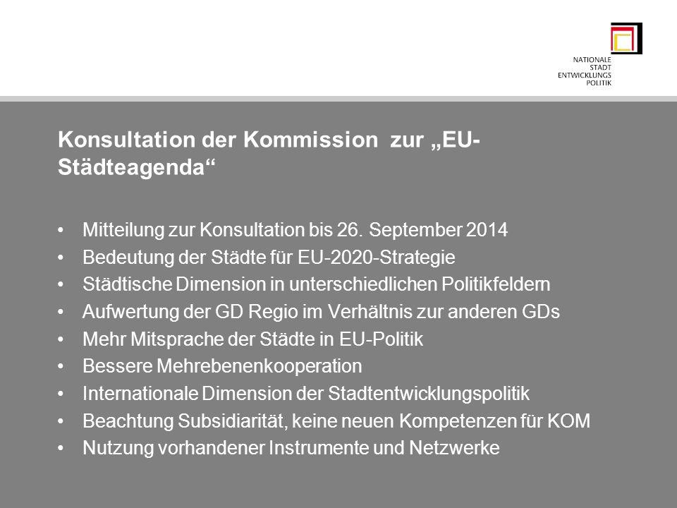 """Konsultation der Kommission zur """"EU-Städteagenda"""