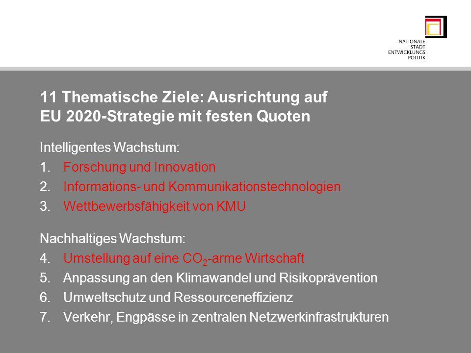 11 Thematische Ziele: Ausrichtung auf EU 2020-Strategie mit festen Quoten