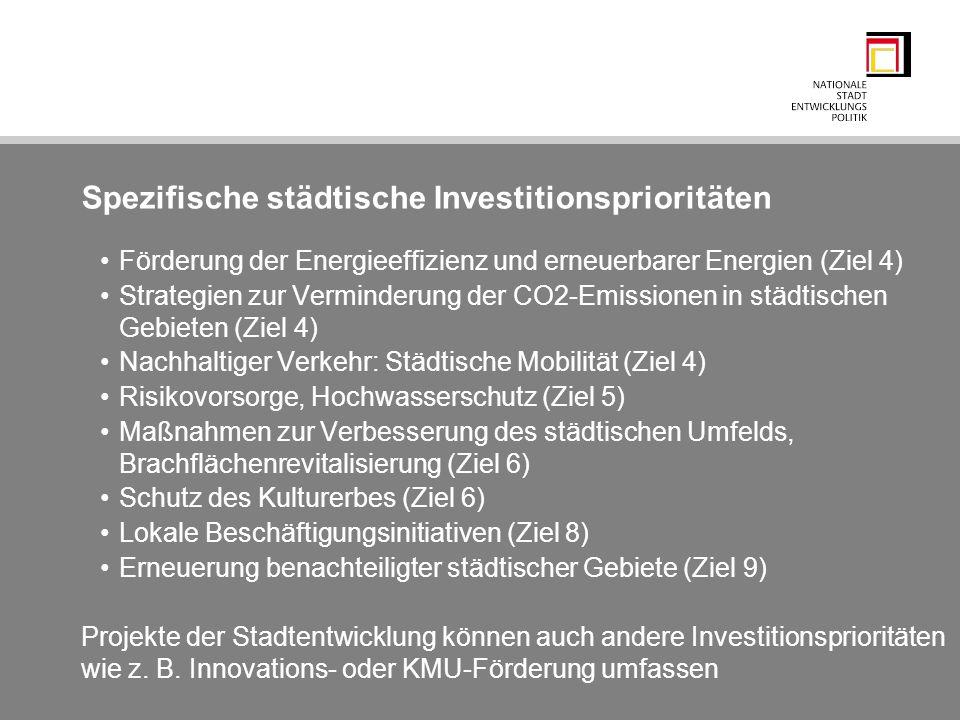 Spezifische städtische Investitionsprioritäten