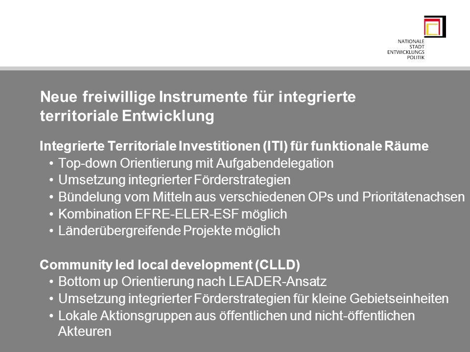 Neue freiwillige Instrumente für integrierte territoriale Entwicklung