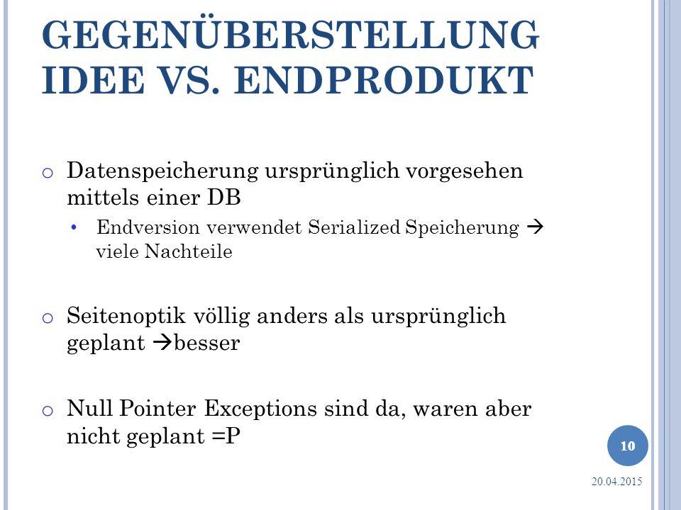 GEGENÜBERSTELLUNG IDEE VS. ENDPRODUKT