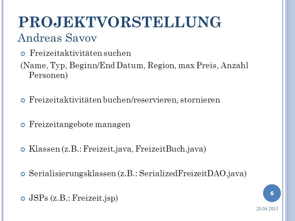 PROJEKTVORSTELLUNG Andreas Savov