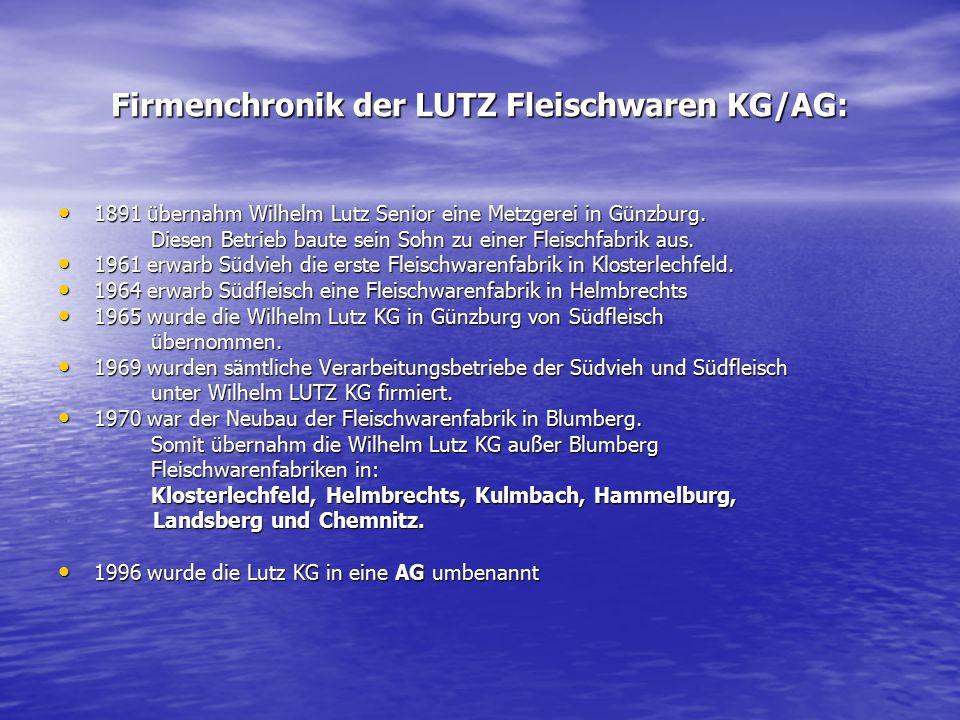 Firmenchronik der LUTZ Fleischwaren KG/AG: