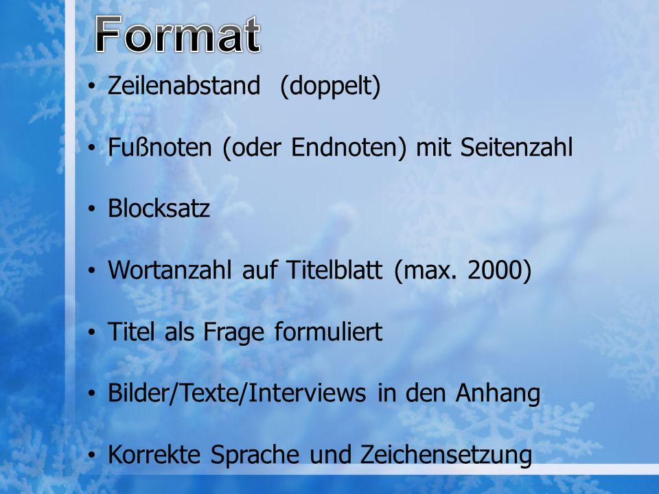 Format Zeilenabstand (doppelt) Fußnoten (oder Endnoten) mit Seitenzahl