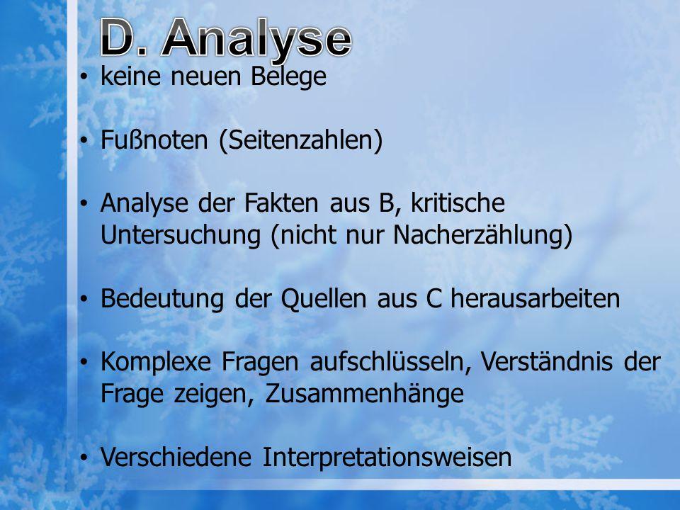 D. Analyse keine neuen Belege Fußnoten (Seitenzahlen)