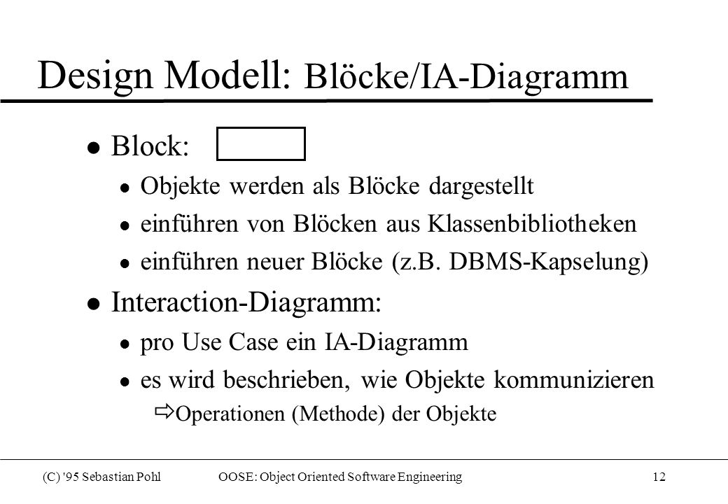 Design Modell: Blöcke/IA-Diagramm