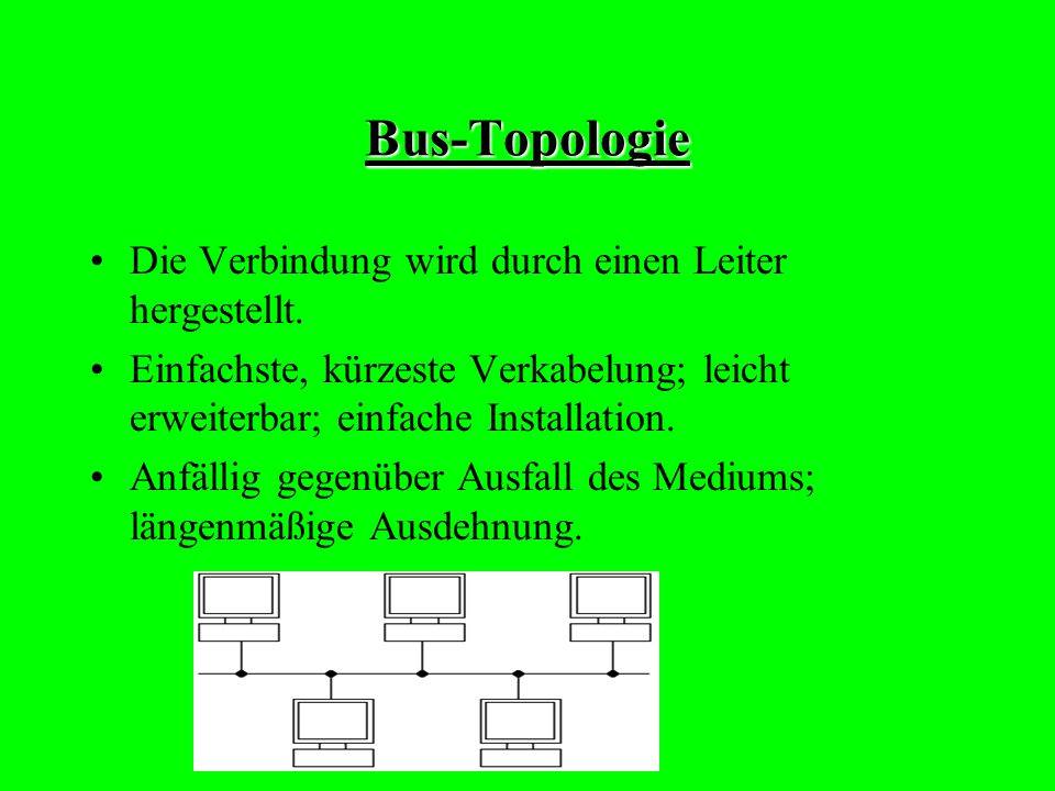 Bus-Topologie Die Verbindung wird durch einen Leiter hergestellt.