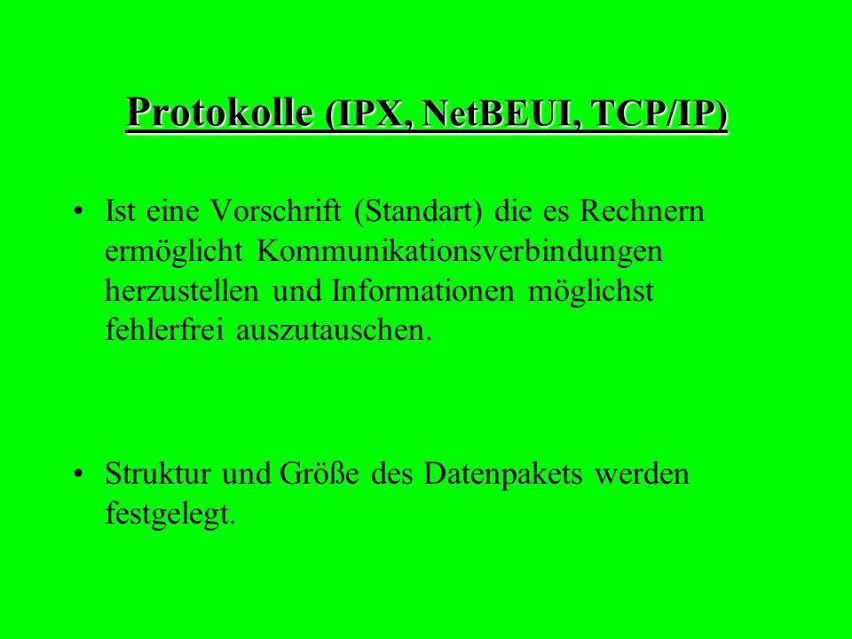 Protokolle (IPX, NetBEUI, TCP/IP)