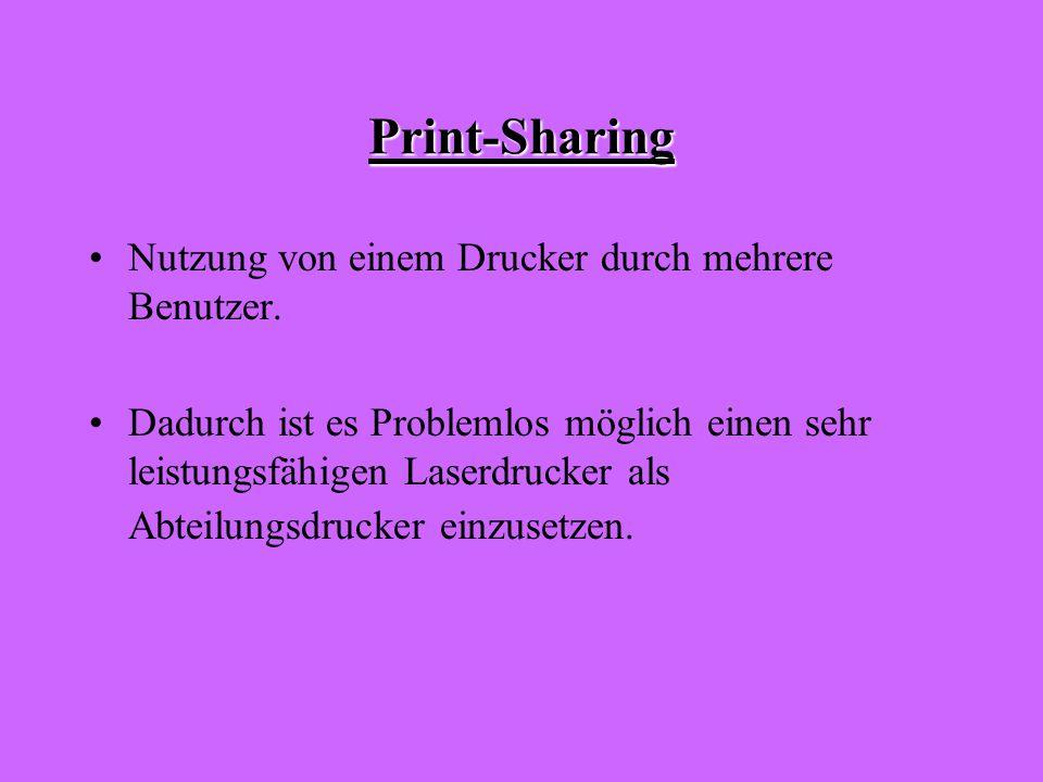 Print-Sharing Nutzung von einem Drucker durch mehrere Benutzer.