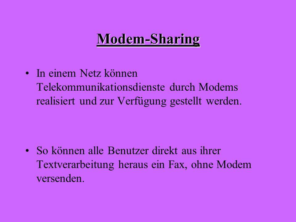 Modem-Sharing In einem Netz können Telekommunikationsdienste durch Modems realisiert und zur Verfügung gestellt werden.