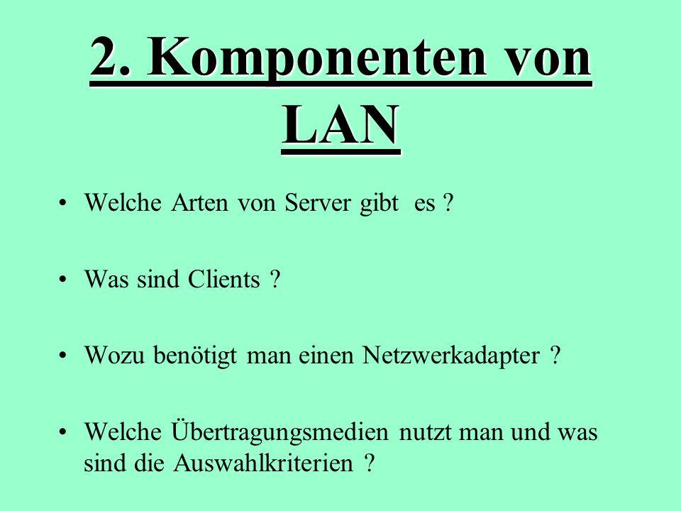 2. Komponenten von LAN Welche Arten von Server gibt es