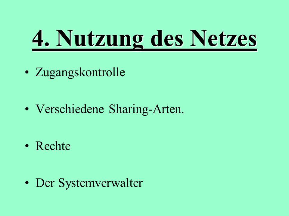 4. Nutzung des Netzes Zugangskontrolle Verschiedene Sharing-Arten.