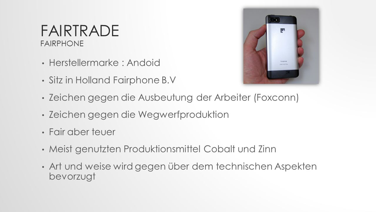 Fairtrade Fairphone Herstellermarke : Andoid