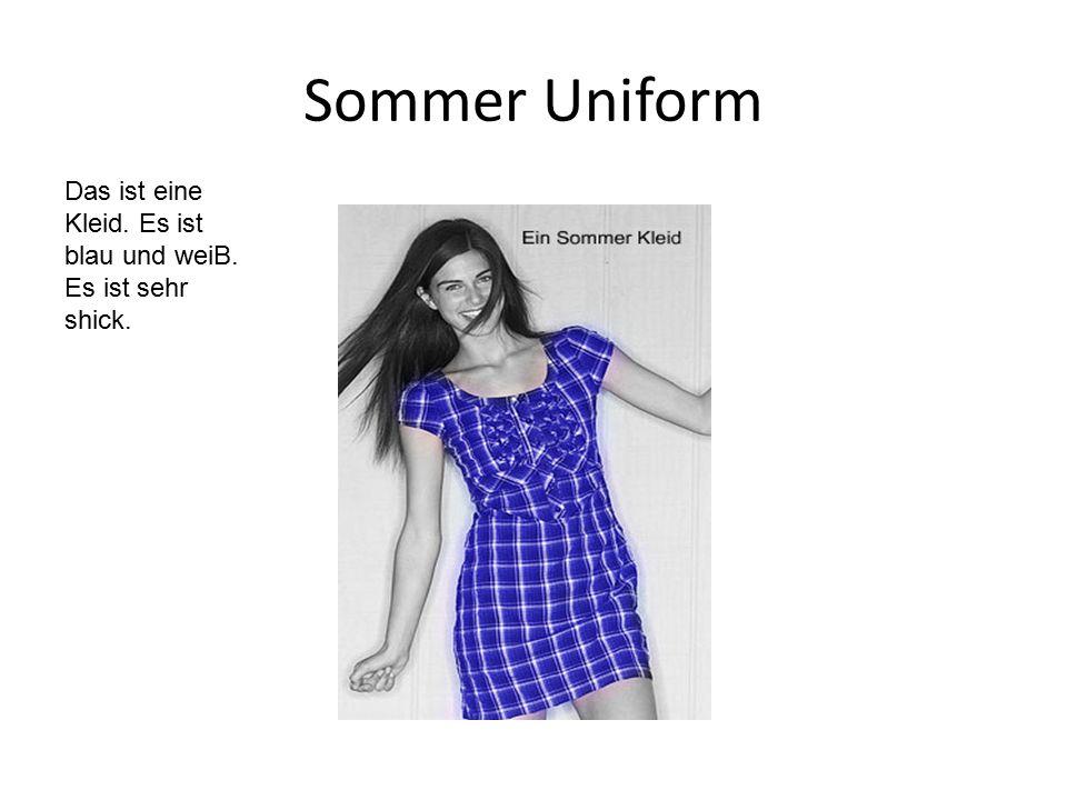 Sommer Uniform Das ist eine Kleid. Es ist blau und weiB.