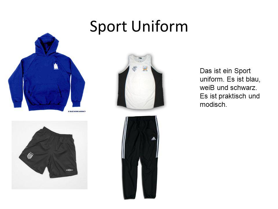 Sport Uniform Das ist ein Sport uniform. Es ist blau, weiB und schwarz.