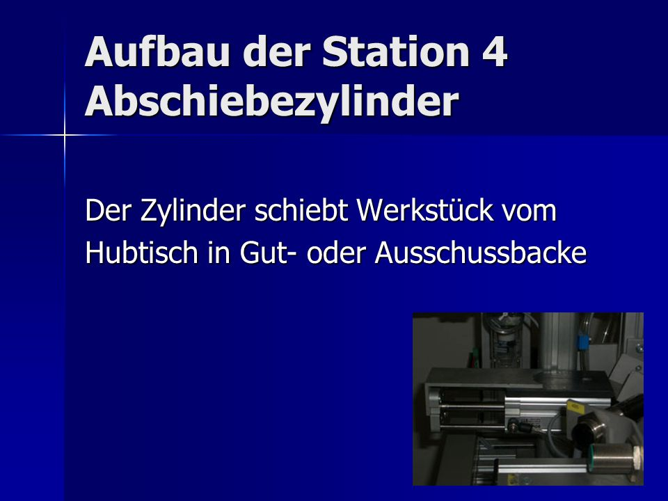 Aufbau der Station 4 Abschiebezylinder