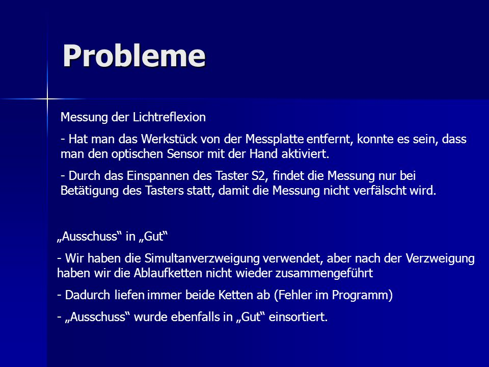 Probleme Messung der Lichtreflexion